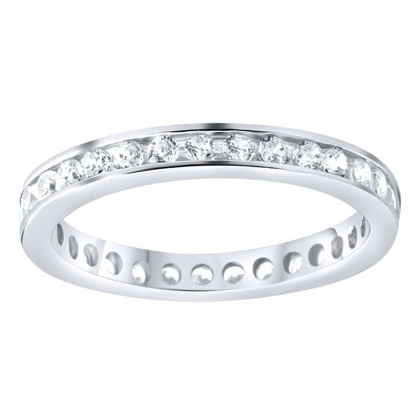 Sterling 925er Silber Eternity Ring - 3mm Channel Set