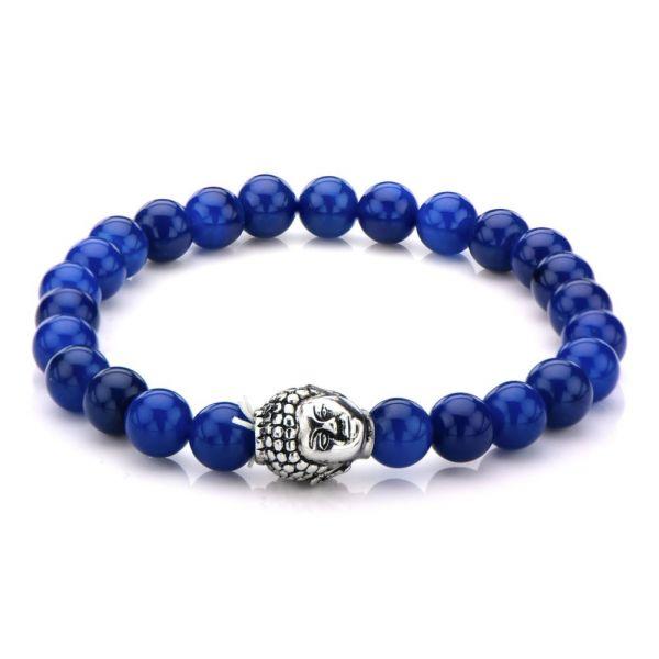 Herren Edelstahl Armband mit Buddha Kopf und Lapis Steinen