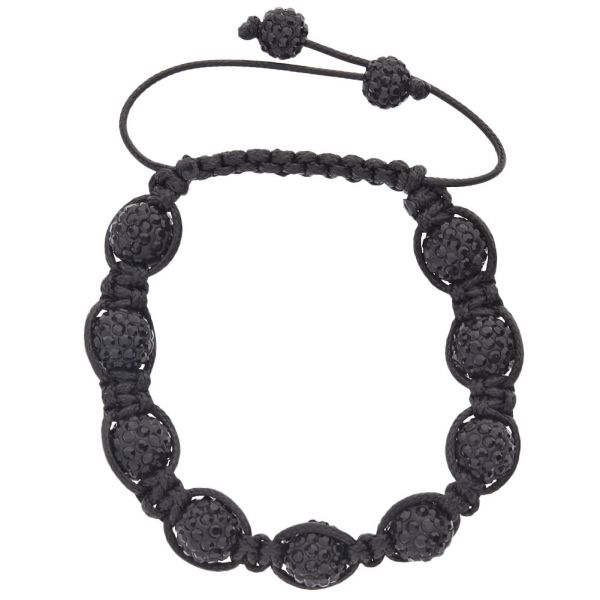 Iced Out Unisex Bracelet - Beads NINE hematite black