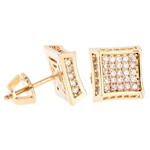 Iced Out Bling Micro Pave Ohrstecker - SIDE KITE 10mm gold