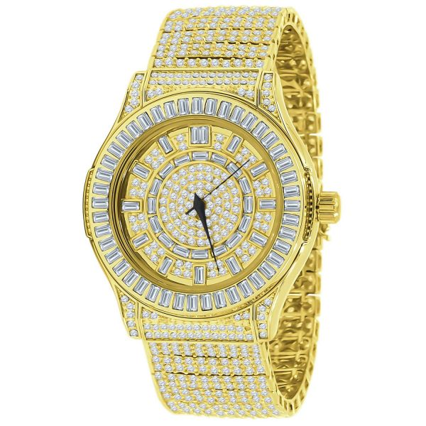 Mens High Quality FULL ICED OUT CZ Watch - gold