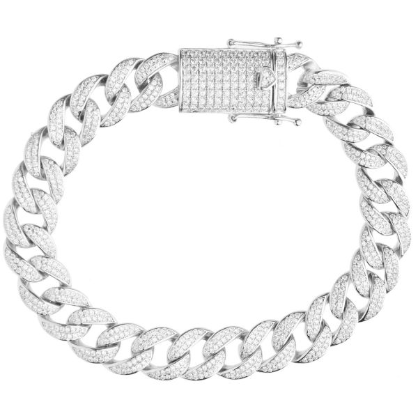 Premium Bling 925 Sterling Silver Bracelet - MIAMI CURB 12mm