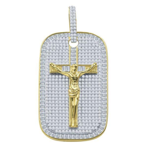 925 Sterling Silber 3D Anhänger - JESUS KREUZ DOG TAG gold
