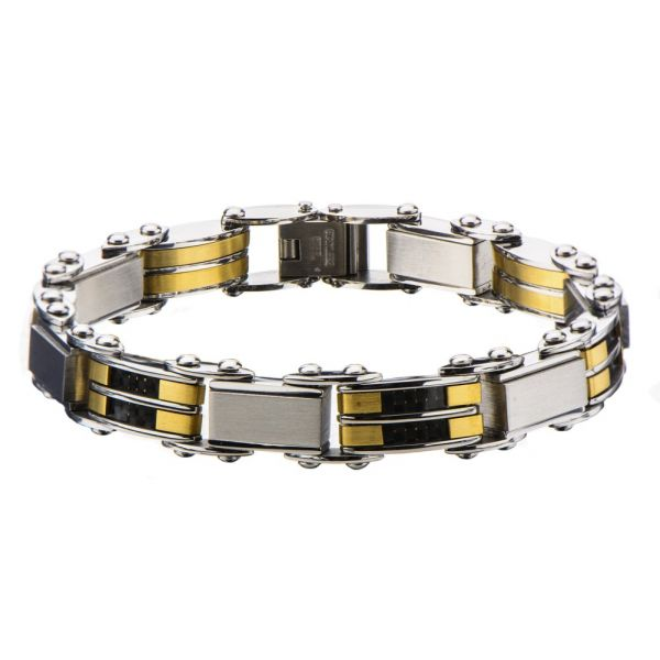 Herren Edelstahl Schwarz Gold IP Reversible Armband