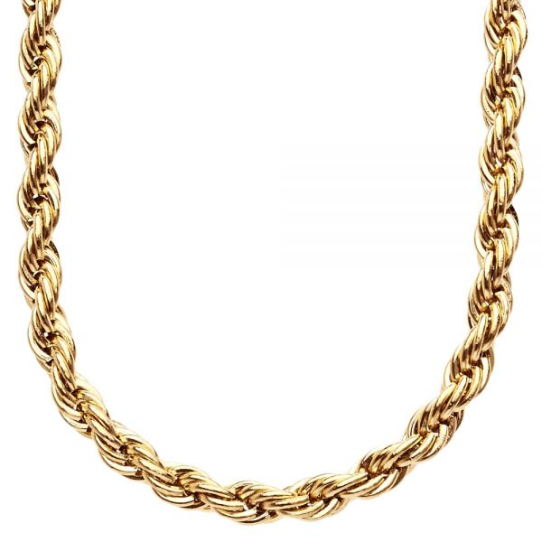 Iced Out Stainless Steel ROPE Chain - 6mm gold