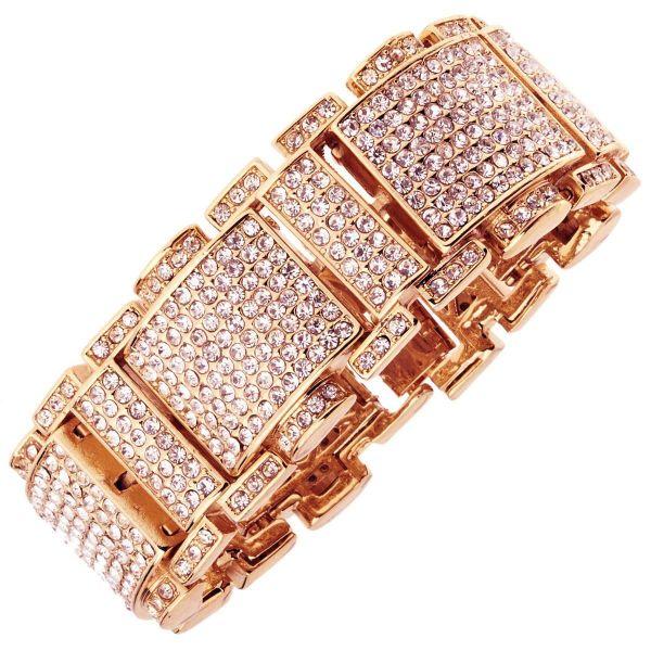 Iced Out Bling Hip Hop Bracelet Armband - RICK rose gold