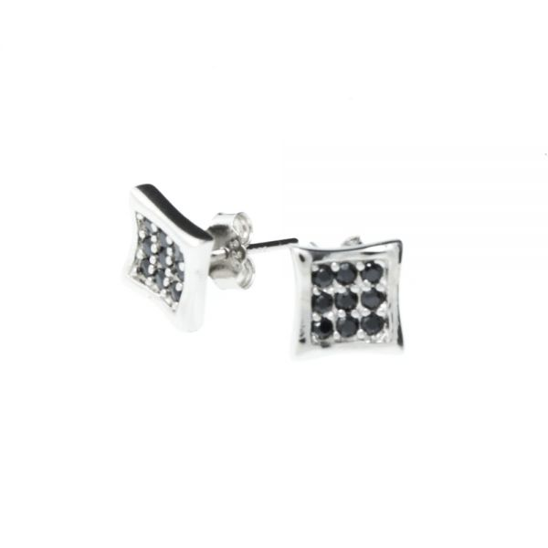 Sterling 925er Silber MICRO PAVE Ohrstecker - ICE black 6mm