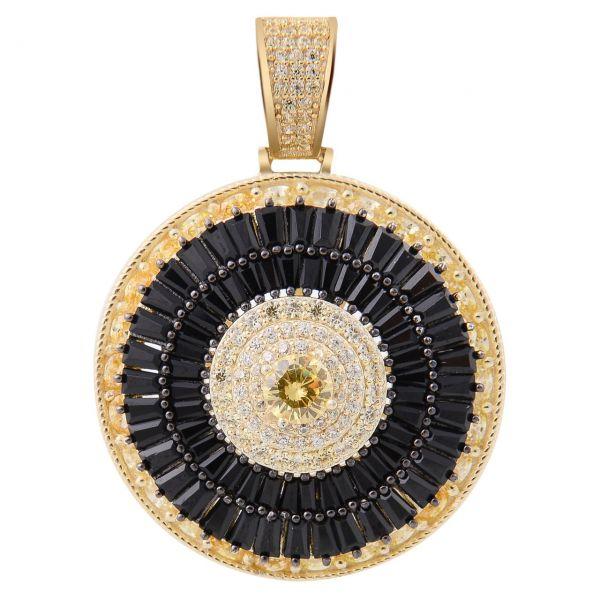 925 Sterling Silver Pave Pendant - CZ SPINNER gold black