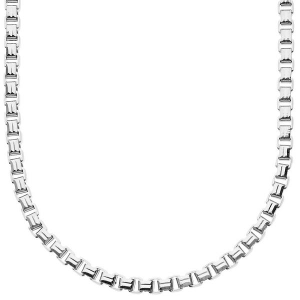 Iced Out Bling SQUARE BOX Kette - 4mm silber - 90cm