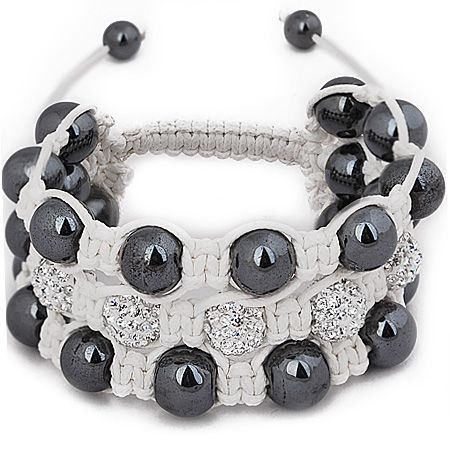 Unisex Bling Armband - Beads 3 ROW weiß