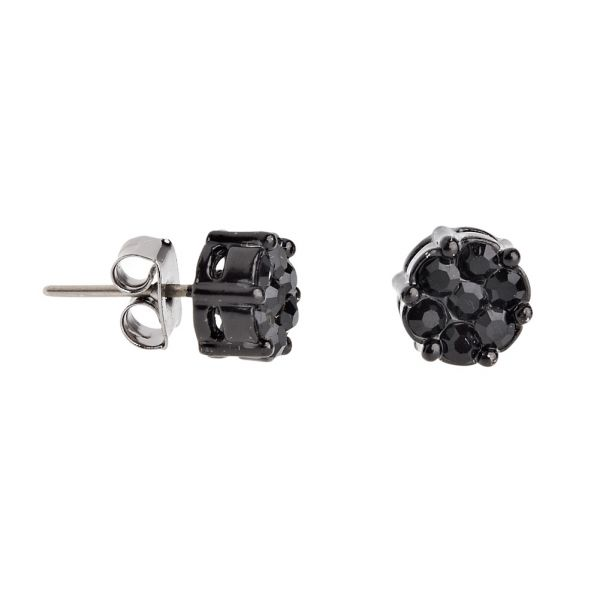 Iced Out Bling Ohrstecker Box - CLUSTER 8mm schwarz