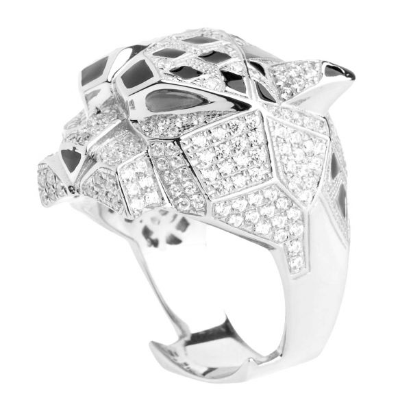 Sterling 925er Silber Micro Pave Ring - XXL ANIMAL
