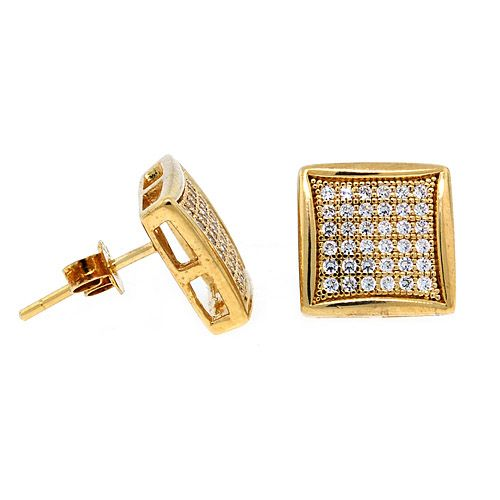 Sterling 925 Silber MICRO PAVE Ohrstecker - WIDE 12mm gold