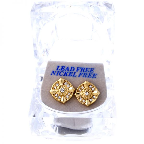 Iced Out Bling Ohrstecker Box - TURBO gold