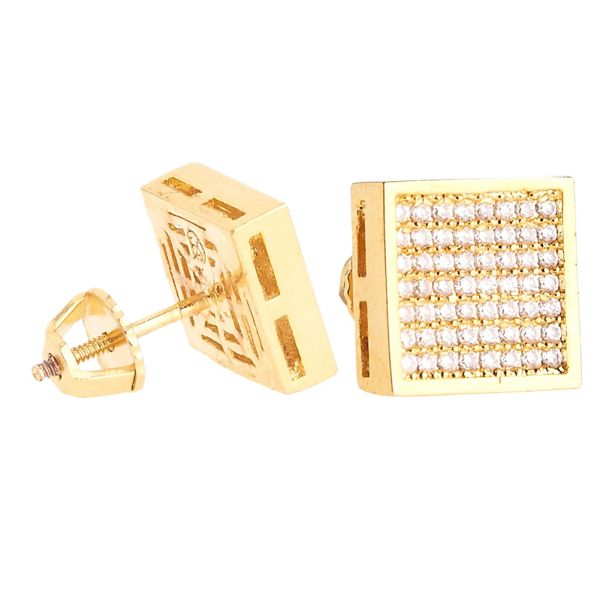 Iced Out Bling Micro Pave Ohrstecker - SQUARE 10mm gold