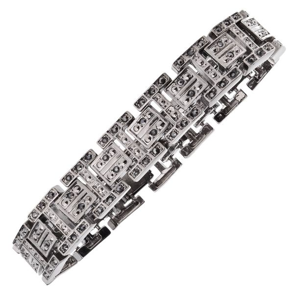 Iced Out Bling Hip Hop Armband - NEW YORK hematite schwarz