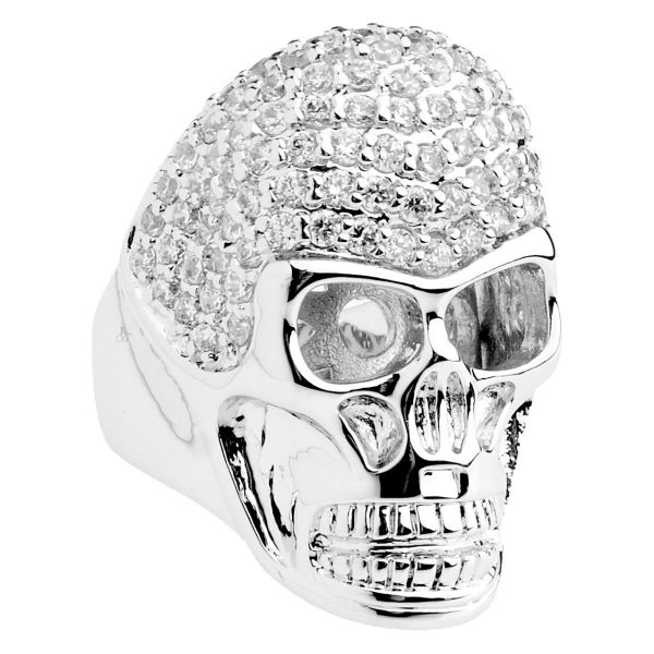 Iced Out Bling Micro Pave Ring - 3D SKULL silber