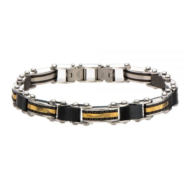 Herren Double Sided Steel Schwarz Gold IP Armband