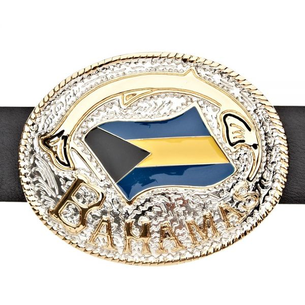Iced Out Bling Gürtel - BAHAMAS FLAG gold / silber