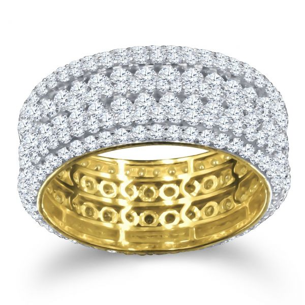 Sterling 925er Silber Micro Pave Ring - FIVE ROW