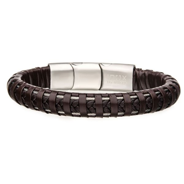 Brown Leather Bracelet with Steel Clasp