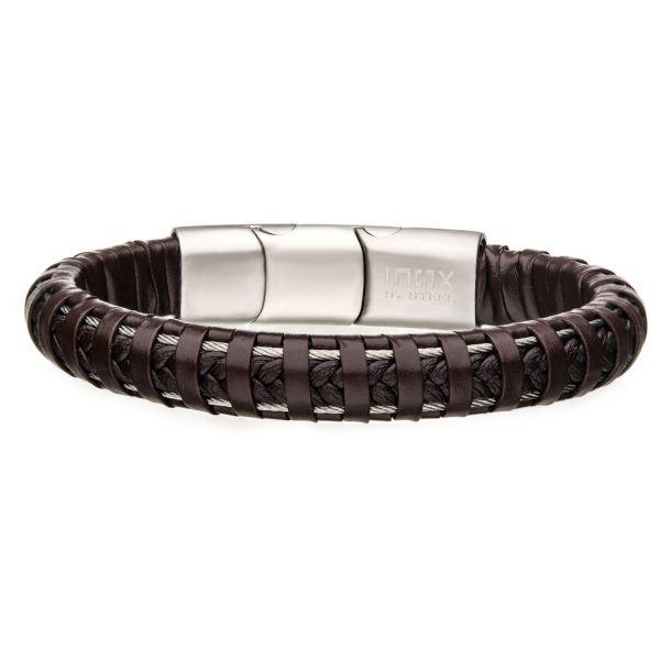 Herren Edelstahl Armband aus braunem Leder