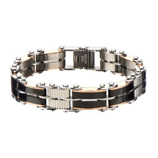 Herren Edelstahl Schwarz Rose Gold IP Reversible Armband