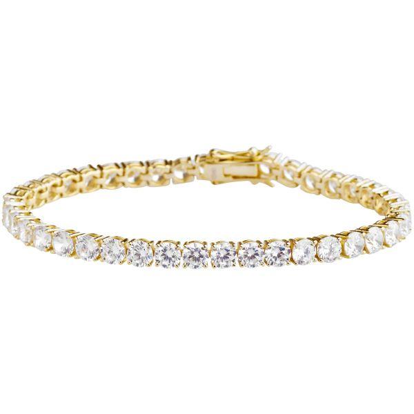 Premium Bling 925 Sterling Silber Armband - TENNIS 5mm gold