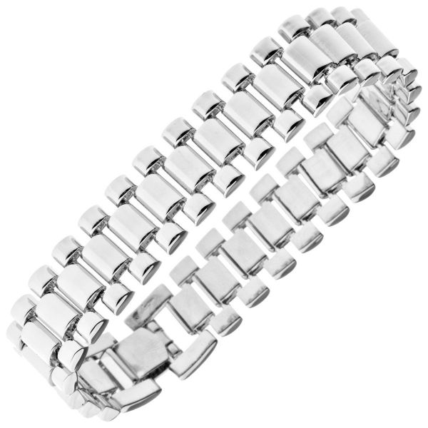 Iced Out Hip Hop Bling Armband - LINK 15mm silber
