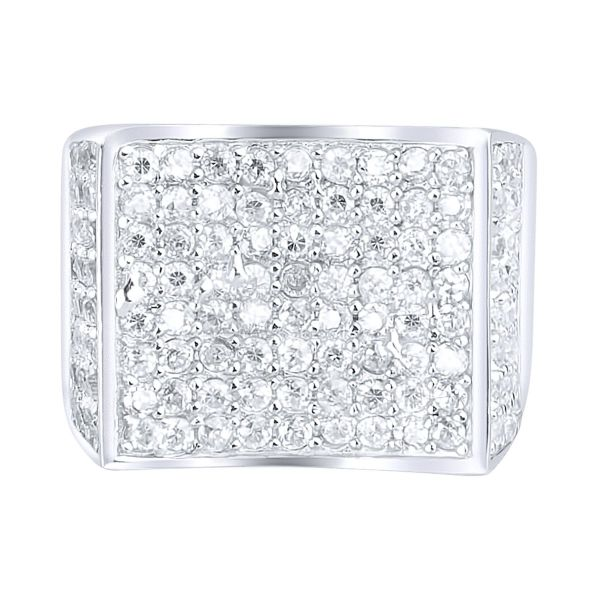Sterling 925er Silber Pave Ring - CURVED
