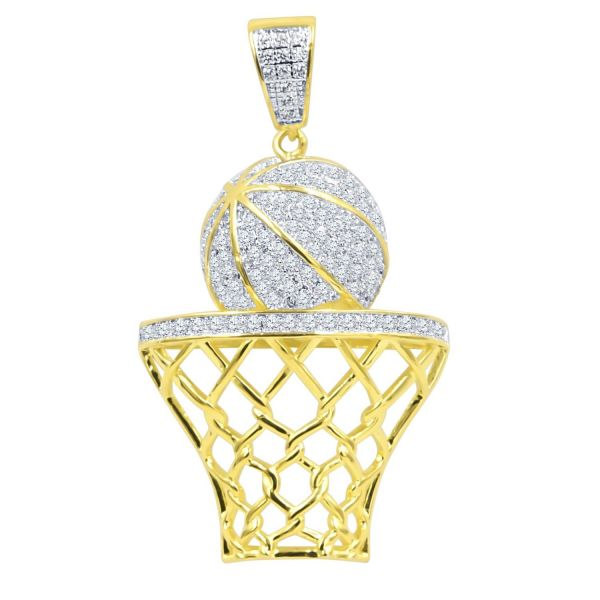 925 Sterling Silber Micro Pave Anhänger Basketball Korb gold
