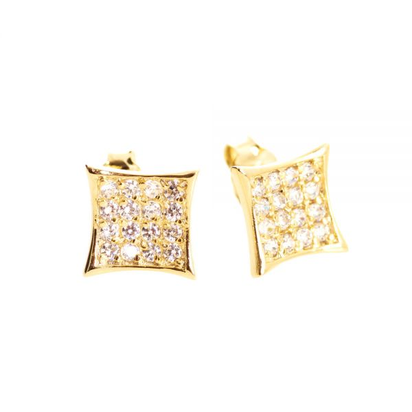 Sterling 925er Silber MICRO PAVE Ohrstecker - ICEY gold 8mm
