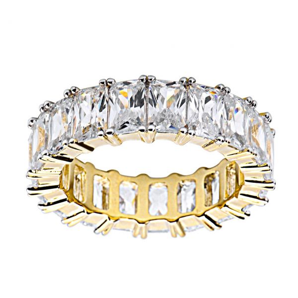 Sterling 925er Silber Micro Pave Ring - Baguette CZ gold