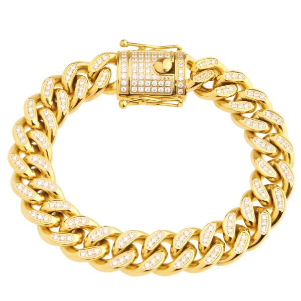 Iced Out Bling Edelstahl Miami Cuban Armband - 14mm gold