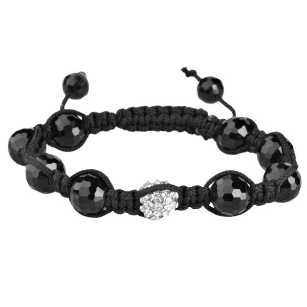 Unisex Bling Beads Onyx Armband - DISCO BALL black