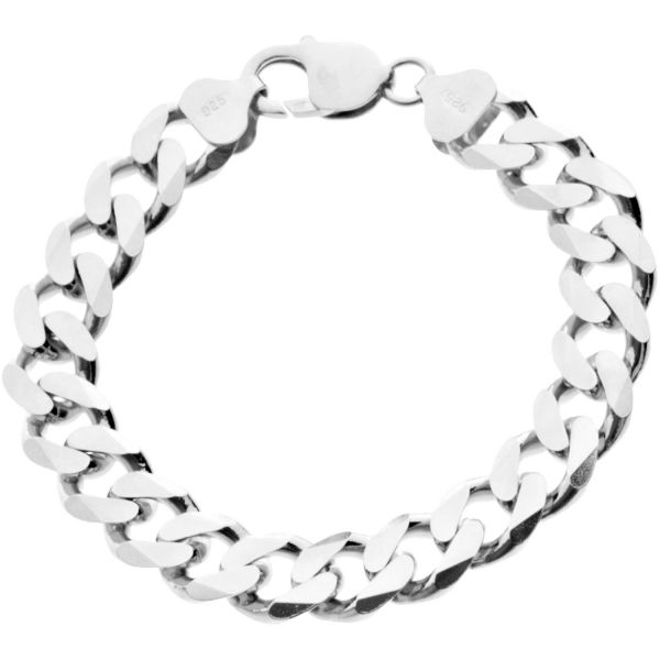 925 Sterling Silver Curb Chain Bracelet - CURB 11mm