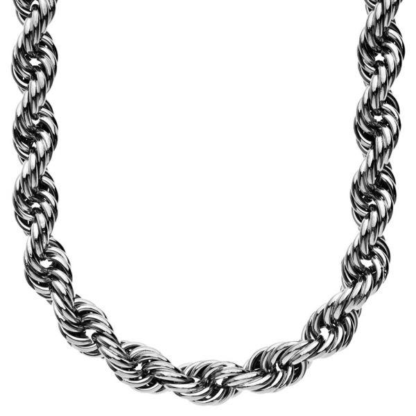 Heavy Solid Rope Kordelkette - 10mm - 90cm hochglanz schwarz