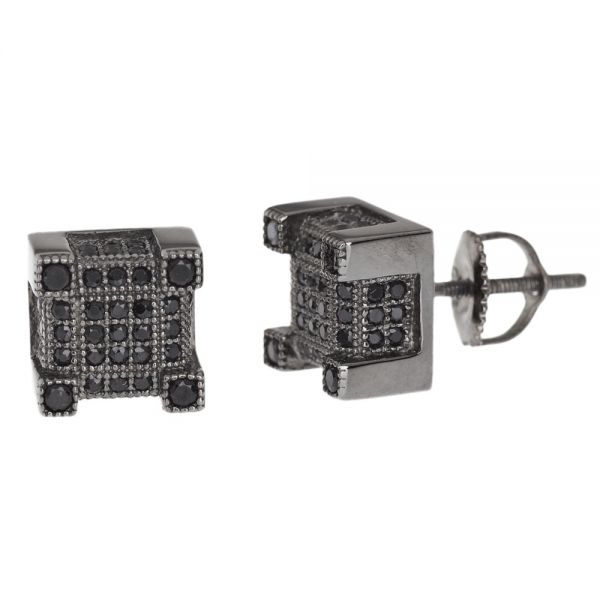 Sterling 925 Silber MICRO PAVE Ohrstecker - BOX 8mm schwarz