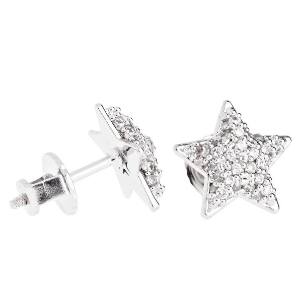 Iced Out Bling Micro Pave Ohrstecker - STAR 10mm