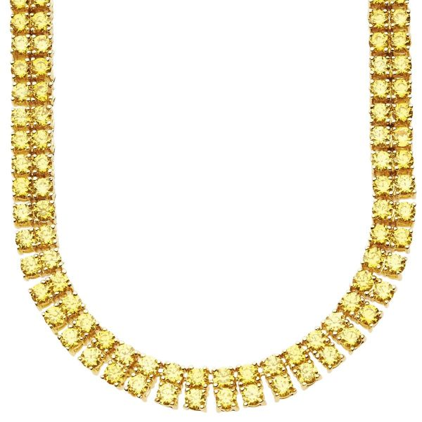 Iced Out Bling ZIRKONIA STEINE 2 ROW Kette - gold