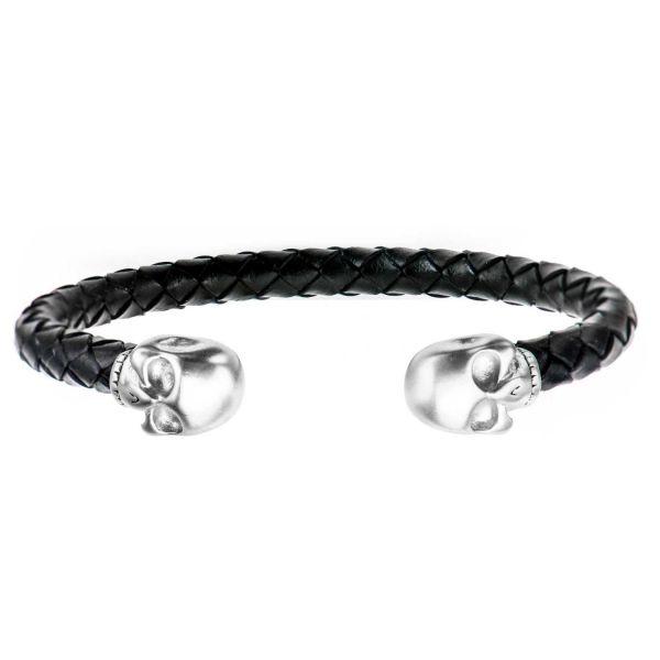 Herren Lederarmband Totenkopf Cuff Armband