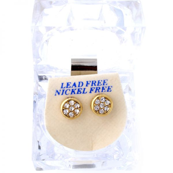 Iced Out Bling Ohrstecker Box - ROUND gold