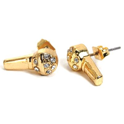 Iced Out Bling Ohrstecker Box - RAPPER MIC gold