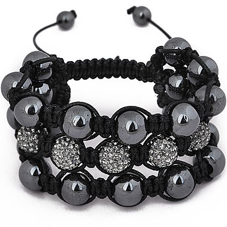 Unisex Bling Armband - Beads 3 ROW schwarz