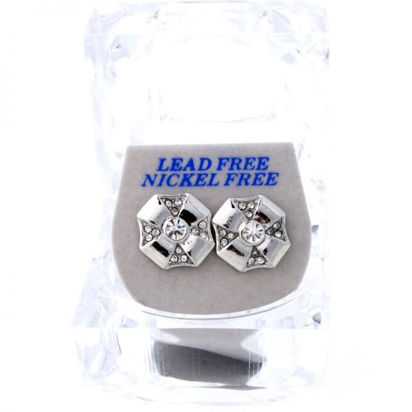 Iced Out Bling Ohrstecker Box - OCTAGON