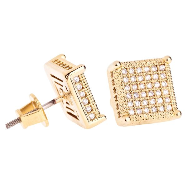 Iced Out Bling Micro Pave Ohrstecker - SIDE 10mm gold