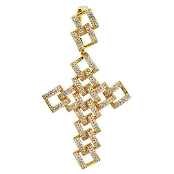 925 Sterling Silver Micro Pave Pendant - SKELETON CROSS gold