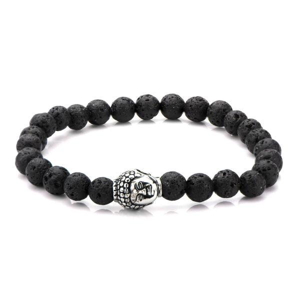 Black Lava Satin Finish Beads Bracelet with Buddha Head