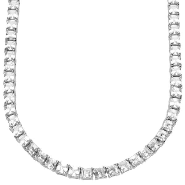 Iced Out Bling Zirkonia Tennis Kette - ASSCHER CUT 4mm