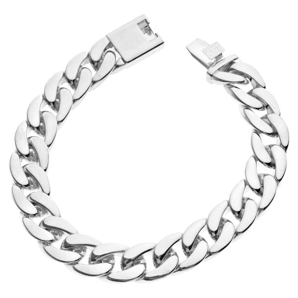 Iced Out Curb Bracelet - CUBAN LINK 15mm silver